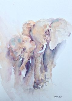 Lean On Me Elephant Watercolor Painting- Black Friday/Cyber  Monday- Free Mount with purchase on Etsy, £65.00