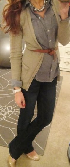 tan light sweater, brown belt, blue & white striped button up and comfy jeans + tan flats or heels
