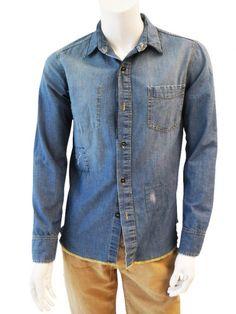 Sporty Nicolas shirt in elastic denim cotton,button fastener @ EUR 99.00 from dressspace.com