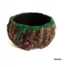 Really cute polymer clay bracelet that looks like wood with moss and a little ladybug!!