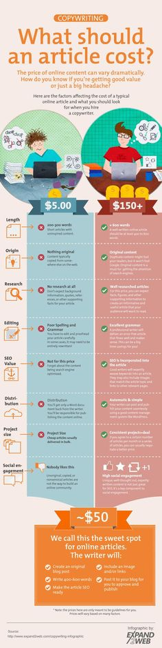 Writing good article needs competency, time and engagement. Check what is the difference between professional and not professional job and how much such a task could cost.   #infographic