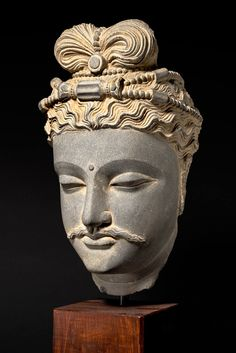 Bodhisattva Head Ancient Region of Gandhara (modern day Pakistan) Blue Grey Schist, Kushan Period  13 inches (33 cm) Provenance: Private European collection from the 1960's
