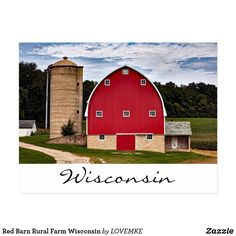 Red Barn Rural Farm Wisconsin Postcard