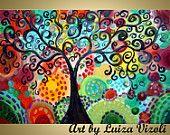 Glossy Giclee Whimsical Boho Gypsy TREE of JOY Gallery Canvas ready to hang by Luiza Vizoli