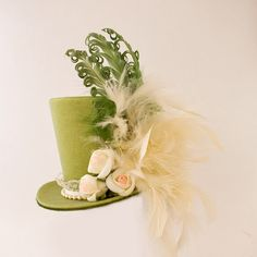 Burlesque, Bachelorette, Gothic, Steampunk, Victorian, Showgirl, Fascinator, Alice in Wonderland, Mad Hatter, Tea Party, Green Mini Top Hat