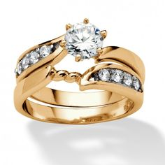 2 Piece .86 TCW Round Cubic Zirconia Twist Bridal Ring Set in 18k Gold over Sterling Silver at Viomart.com