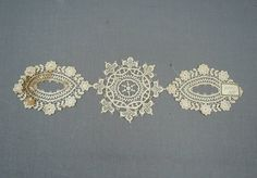 3 Antique Lace Appliques with old label, 12 inches, Edwradian 1900s Lace Dress Trims by dandelionvintage on Etsy
