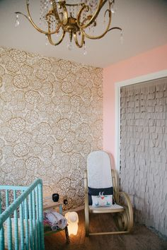 Gold Pedal Pusher Wallpaper Accent Wall in this Vintage Glam Nursery