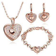 17% OFF Heart 18K Gold Plated Crystal Earring,Bracelet,Necklace Set. Only $57.95