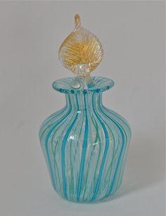Blue Glass Perfume Bottle Vintage Exquisite by Violasvintages