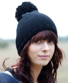 2013 Fall/Winter Chunky Knit Pom Pom Beanies, Mega Pom Pom Black Knitted Hat   #beanies #knitted #girls www.loveitsomuch.com