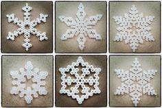 Create Your Own Diy Snowflakes For Decoration - Do It Yourself Samples Diy Christmas Snowflakes, Christmas Perler Beads, Snowflake Craft, Cone Christmas Trees, Snowflake Decorations, Christmas Crafts, Christmas Decorations, Christmas Ornaments, Pixel Art Noel