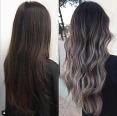 Ombre hair: the most beautiful color gradients and if we dared ombre hair? Ombre Hair Color, Hair Color For Black Hair, Hair Color Balayage, Brown Hair Colors, Hair Highlights, Ash Ombre Hair, Ashy Brown Hair Balayage, Balayage Asian Hair, Ash Hair