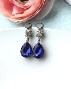 Deep Sapphire Blue Vintage Pear Teardrop Jewel & Round Crystal Jewel Earrings. Wedding Earrings. Bride. Something Blue.
