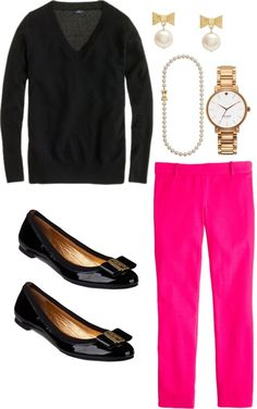 """""""Pearls & Brights"""" by southernbelle Pink Pants Outfit, Colored Pants Outfits, Hot Pink Pants, Pink Dress, Bright Spring, Fashion Outfits, Womens Fashion, Fashion Trends, Work Fashion"""
