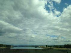 Columbia River (from bridge) Visit Portland, Columbia River, Bridge, Clouds, Outdoor, Outdoors, Bridge Pattern, Bridges, Outdoor Games