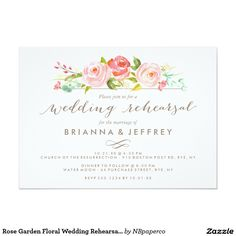 Rose Garden Floral Wedding Rehearsal Dinner Card Modern and chic wedding rehearsal dinner invitation featuring watercolor pink roses and a beautiful calligraphy font. Visit the shop to see the rest of the Rose Garden invitation suite.