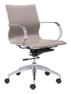 Image Mid Back Office Chair |   Taupe | Modern Furniture • Brickell Collection