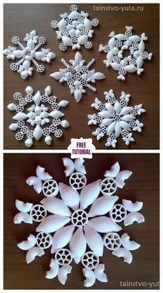 DIY Pasta Snowflake Ornament for Christmas - Easy Tutorial - Christmas . - DIY Pasta Snowflake Ornament for Christmas – Easy Tutorial – Christmas – - Diy Christmas Fireplace, Diy Christmas Snowflakes, Diy Christmas Decorations For Home, Christmas Crafts For Adults, Snowflake Decorations, Christmas Ornament Crafts, Christmas Projects, Kids Christmas, Simple Christmas