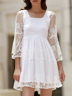 White Lace Mesh Splicing Square Neck Flare Sleeve Dress - White