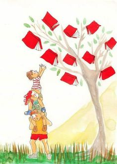 tree of red books Zo'n boom wil ik wel! Reading Art, Reading Quotes, Love Reading, Red Books, I Love Books, Books To Read, Library Art, World Of Books, Lectures