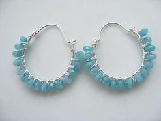 Apatite Hoop Earrings  Apatite Beaded by NuryMenesesJewelry, $39.00