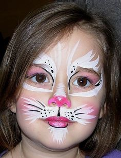 Black cat face paint kitty face paint simple cat face paint cat face how to do cat face makeup for Bunny Face Paint, Easter Face Paint, Black Cat Face Paint, Face Painting Designs, Paint Designs, Cute Cat Face, Kids Makeup, Bunny Makeup, White Rabbit Makeup