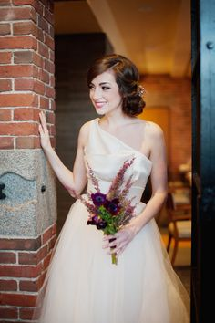 Amsale Wedding Gown | On SMP: http://www.stylemepretty.com/new-england-weddings/2013/11/25/bohemian-chic-inspiration-shoot-at-liberty-hotel-from-shannon-grant-photography | Photography: Shannon Grant