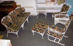 antique woodard wrought iron 8 piece fancy new orleans pattern garden patio set