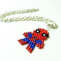 Super Hero Spider Character Charm, Seed Bead Bead Weaving, Brick Stitch