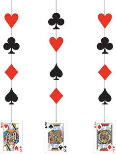 CARD NIGHT HANGING DECORATION CASINO JAMES BOND PARTY KING QUEEN JACK RED BLACK | eBay