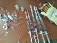Drugs and syringe