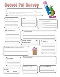 secret sister questionnaire - Google Search | Ministry | Pinterest ...