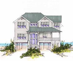 Plan 13034fl beach house plan with two story great room for Coastal living house plans for narrow lots