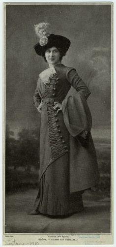 1910 fashion - look at those button and frog closures and that hat!