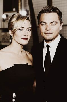 Kate Winslet and Leonardo DiCaprio. English actress and singer and American actor and film producer. Leonardo And Kate, Kate Winslet And Leonardo, Leonardo Dicaprio Kate Winslet, Young Leonardo Dicaprio, Titanic Movie Facts, Pretty People, Beautiful People, Leo And Kate, Best Actor