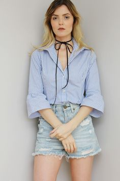 Camisa Emily | Rita Prado Atelier. 100% Cotton. Striped Blouse Bow. Fashion Design © Rita Prado