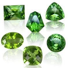 "Peridot - Soothing Green - August's Gemstone  Found in various shades of green, Peridot is most prized in lime hues. The Roman called Peridot ""evening Emerald"", because its green color was said to glow at night. The gem was also used to decorate medieval churches and was most likely carried back to Europe by the Crusaders.  Large Peridots of more than 200 carats in size adorn the shrine of the three magi at the Cologne Cathedral in Germany."