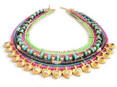 Neon statement necklace   multiple strands beaded by OOAKjewelz