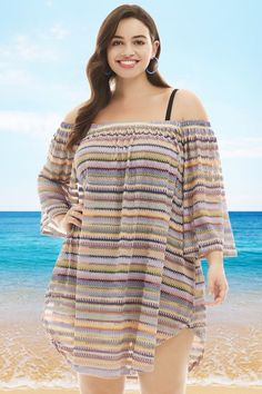 ec584e8a32 Always For Me Bohemian Nights Off the Shoulder Plus Size Cover Up Rainbow