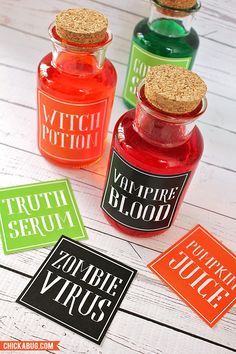 Free printable Halloween potion labels - use the potions to mix (and color) spooky drinks!