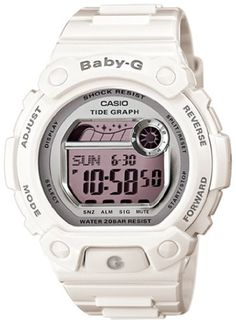 Casio Women's BLX103-7 Baby-G White Resin G-Lide Digital Mirror Dial Sport Watch $68.18