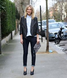 jacket + shoes + leopard clutch.