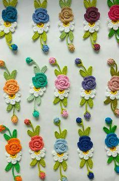 Flower Crochet, Crochet Art, Cute Crochet, Crochet Jewellery, Crochet Earrings, Crochet Designs, Crochet Ideas, Leaf Flowers, Crochet Purses
