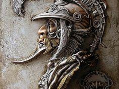 The Helmet Victor Goryaev Wall Sculptures, Sculpture Art, Plaster Art, Aztec Art, Leather Carving, Wow Art, Hand Engraving, Metal Art, Sculpting