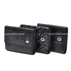 Black Men's Genuine Leather Two Fold Wallet