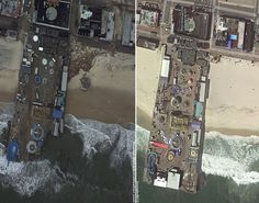 Before and after Hurricane Sandy photos of Seaside Heights, NJ made by the NOAA (National Oceanic and Atmospheric Administration).