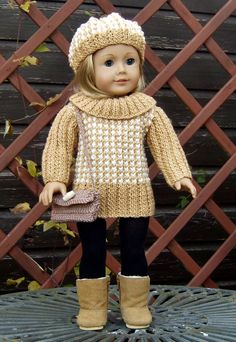 Knitting Pattern # 25 American Girl Doll Houndstooth Sweater Dress. This is one of my own designs suitable for 18 AMERICAN Girl Doll,Gotz Hannah Doll
