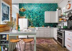 Natural Wood with Dark Gray (plus 2 islands) - Top 10 Modern Kitchen Design Ideas - Best Home Design & Interior Decorating Home Design, Interior Design Kitchen, Interior Decorating, Bohemian Kitchen, Eclectic Kitchen, Urban Kitchen, Eclectic Style, Hgtv Kitchens, Luxury Kitchens