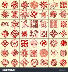 Symbols ~ Ethnic geometric signs set. Set of icons with Slavic pagan symbols for your design. Vector illustration #262167860